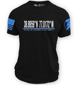 Black ReLEntless Defender Latitude and Longitude Memorial T-Shirt